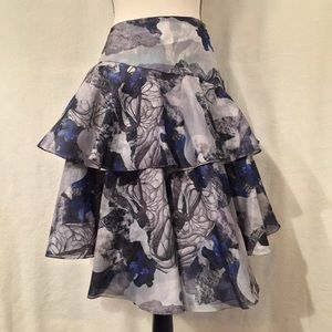 Prabal Gurung silk double organza tiered skirt